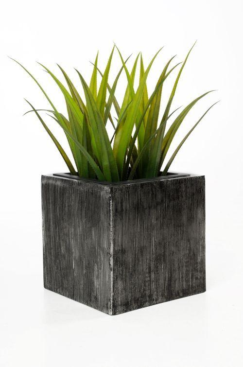 Exclusive Pflanzgefäße exklusiv blumenkübel fiberglas block 40 40 40 cm metallic