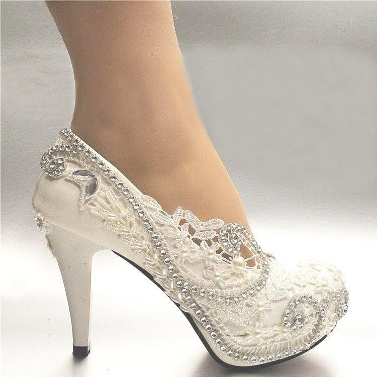 768fba81b418 Women s White Light Lvory Lace Bead Crystal Wedding Shoes Heel Pump 3Inch 8  cm  weddingshoes