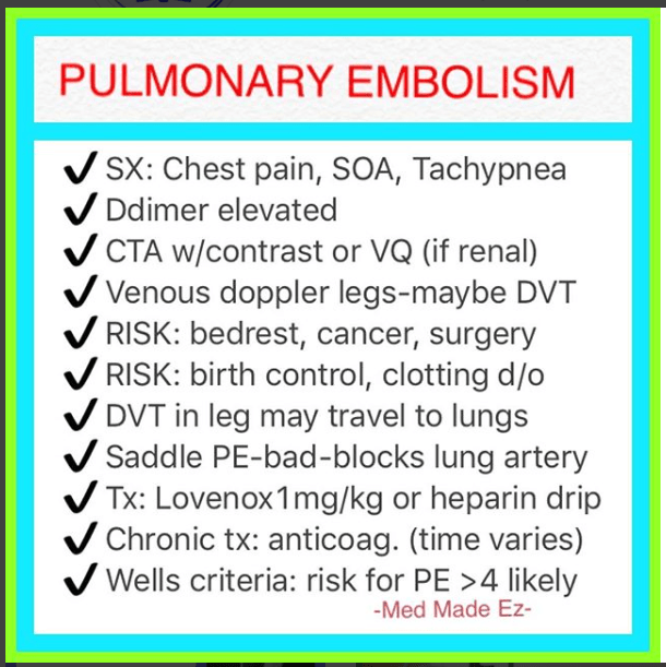 REFERENCE CARD: Pulmonary Embolism | Med Made Ez Cheat Sheet