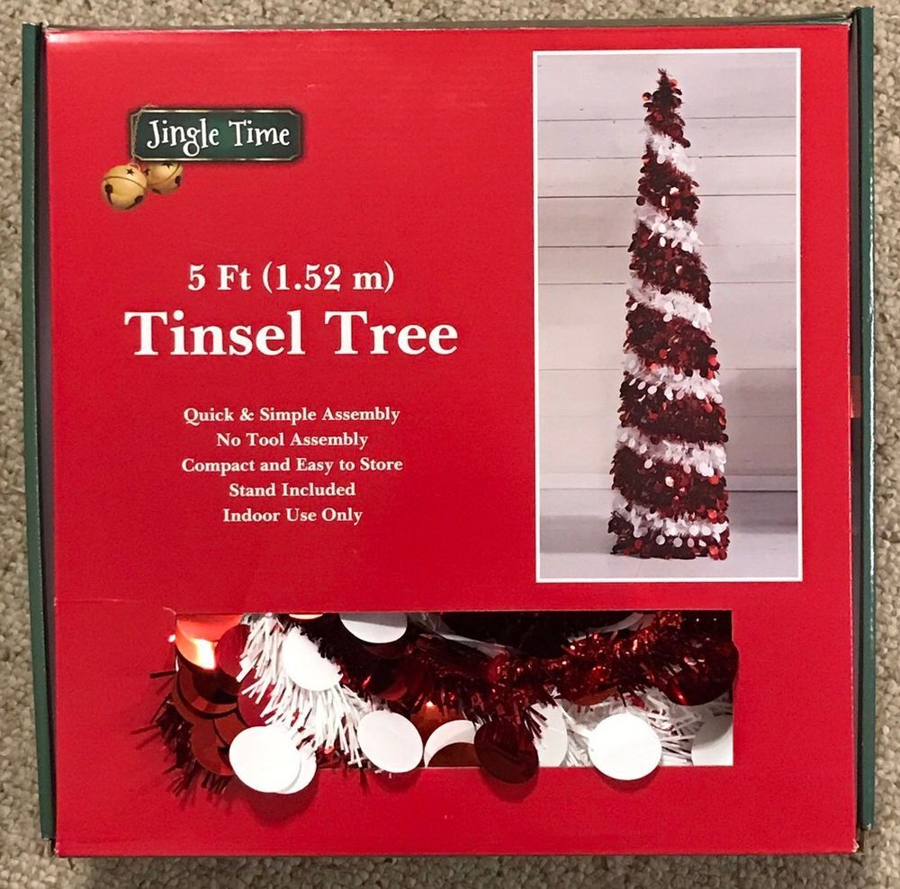 Silver Tinsel Pop Up Christmas Tree: Details About 5 Ft. Collapsible Pencil Skinny Tinsel Pop