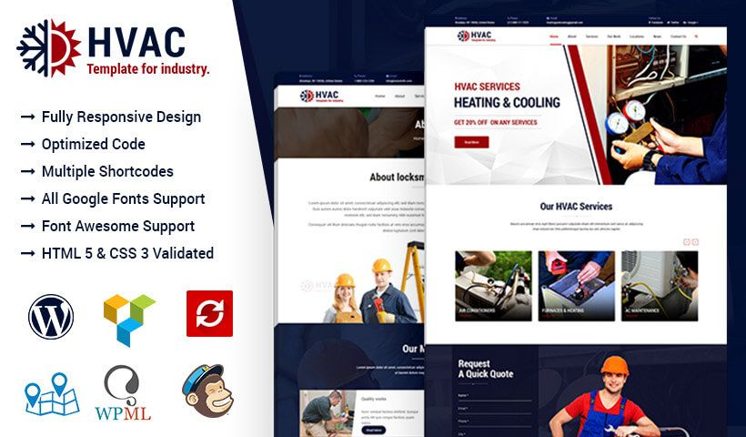 Hvac Air Conditioning Wordpress Theme For Heating And Cooling