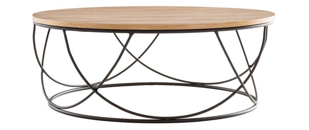 Table Basse Bois Et Metal Noir Ronde 80 Cm Lace Avec Images Table Basse Bois Table Basse Bois Metal Table Basse Ronde Bois