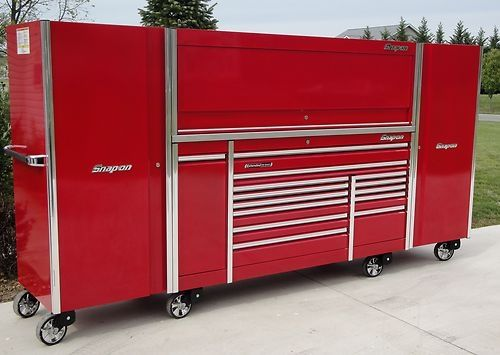 snap on 12 foot epiq triple bank tool box hutch stainless 2 lockers ...