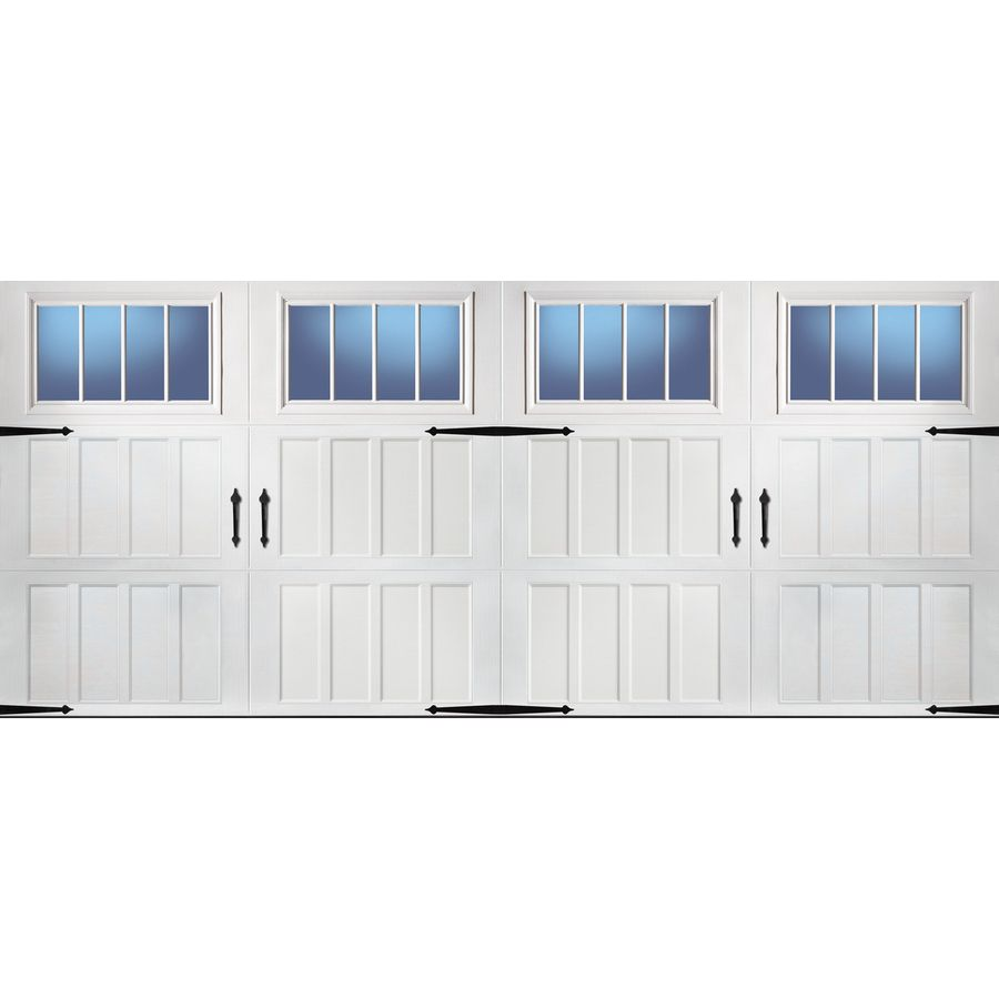 Pella Carriage House Series 192 In X 84 In Insulated White Double Garage Door Windows Lowes Garage Door Windows Double Garage Door Garage Door Design