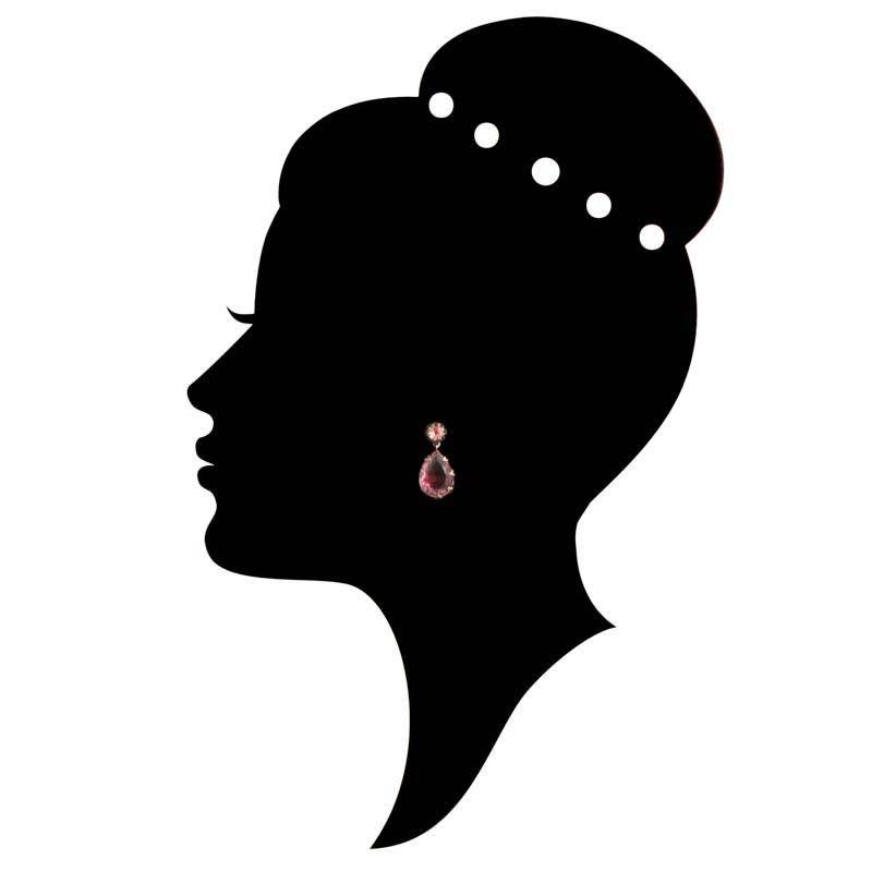 De Luxe Roze oorbellen met kristal druppel