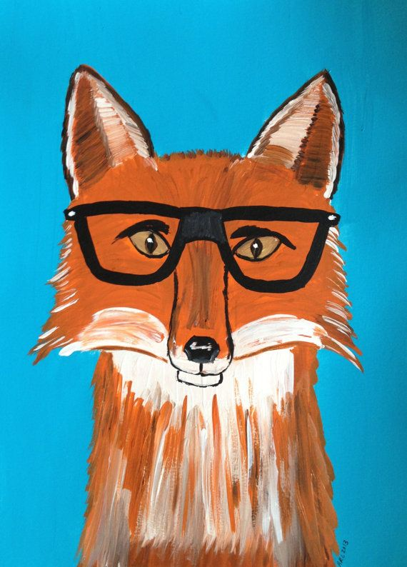 Hipster Fox Wearing Glasses 9x12 Original Acrylic Painting