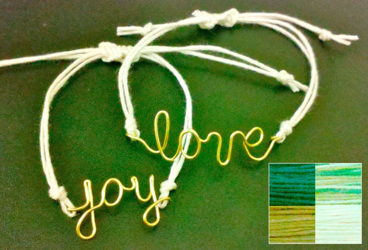 Message bracelet  8 letters max.     Gold or silver wire.     Colors for cord: white, black, brown, or variegated (white, brown, and green).    $8