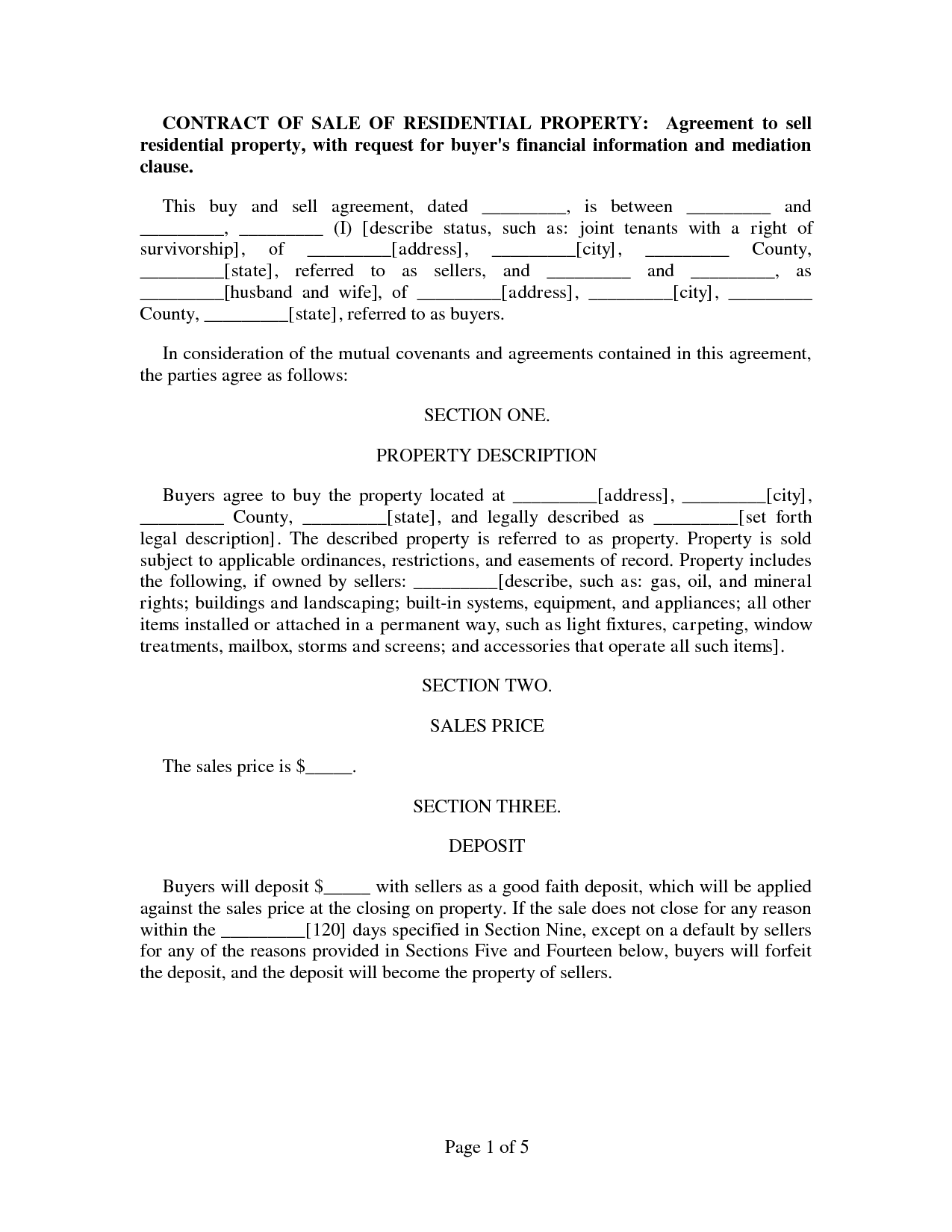 Contract of Sale Agreement   CONTRACT OF SALE OF RESIDENTIAL ...