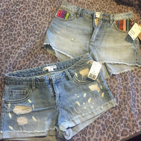Brand New Denim Jean Shorts Bundle 1 Pair of Forever 21 denim shorts size 24 shorts fit true to size, original price $17.80 nice with any sandal or flip flop of your choice.    2nd Pair Are denim shorts from H&M US size 4 original price $29.95 bright summer colors in pockets very chic - both pair for $20 H&M Shorts Jean Shorts