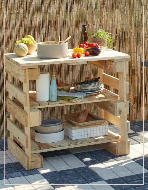 outdoor pallet 98790 diy  fabriquer une desserte en bois