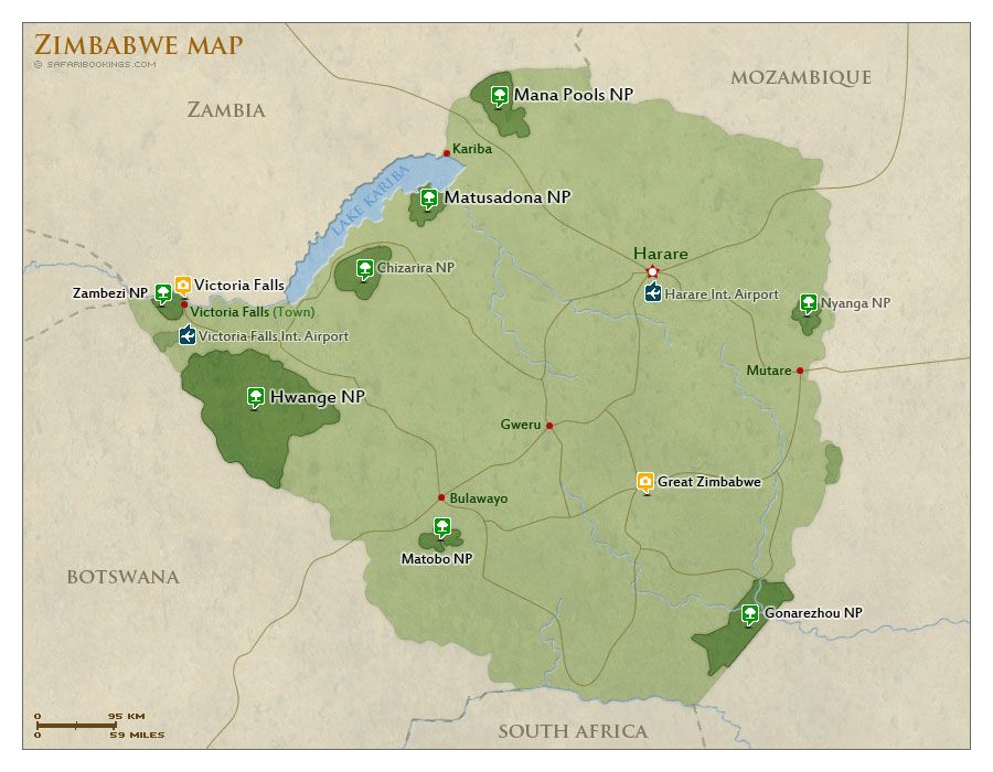 Map of zimbabwe with national parks and highlights zimbabwe map of zimbabwe with national parks and highlights zimbabwe safari travel guide gumiabroncs Image collections