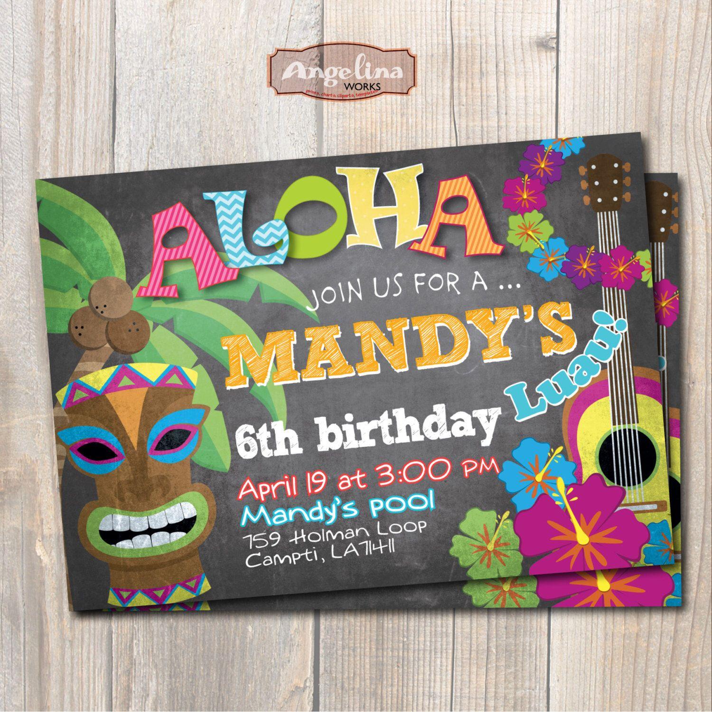 Luau Birthday Invitation Hawaiian party Chalkboard DIY card