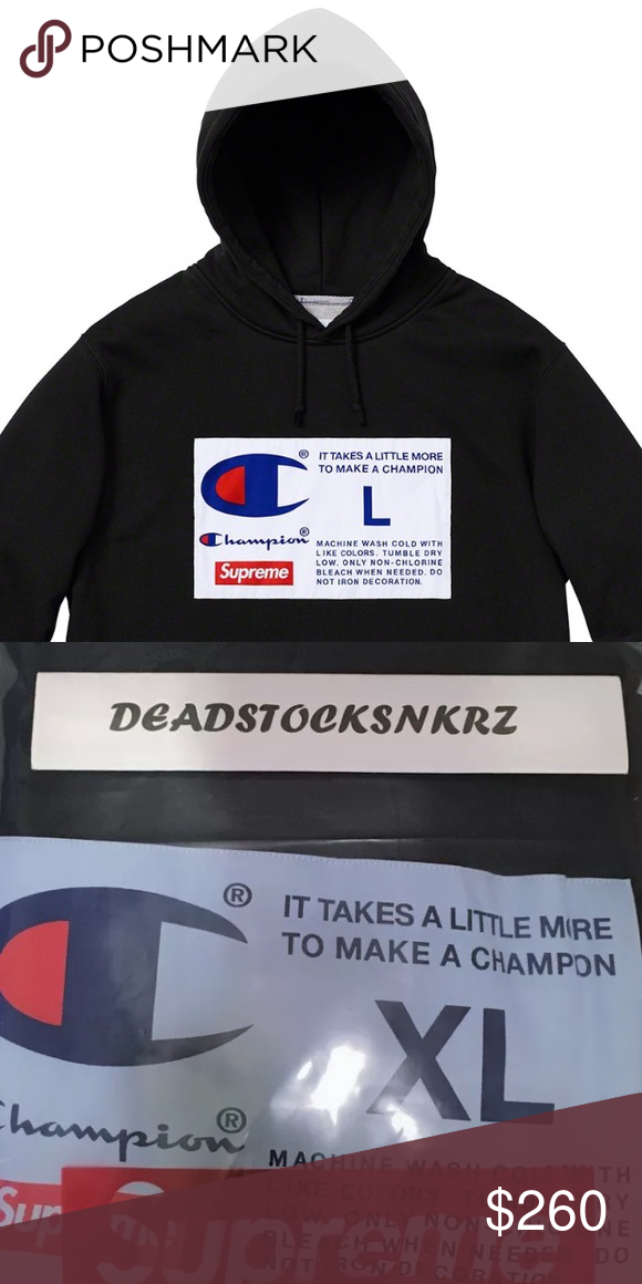 f1b3da72e2e6 Supreme X Champion Label Hooded Sweatshirt Color  Black HEAVYWEIGHT COTTON  CROSSGRAIN FLEECE WITH POUCH POCKET