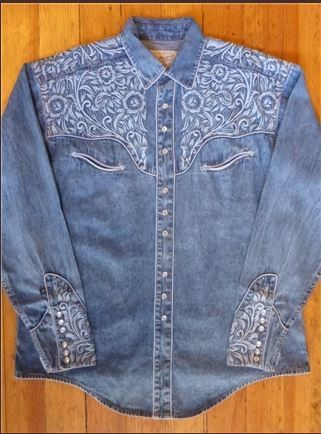 d9343788 Mens Vintage Western Shirt Collection: Rockmount Tooling Embroidery Denim