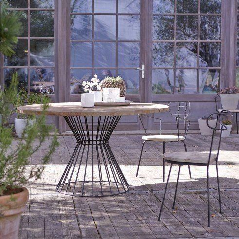 Table de jardin en métal et pin 140 Lina | Outdoor garden | Muebles ...
