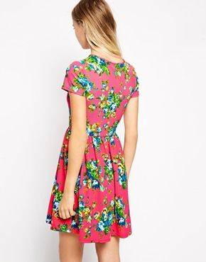 Skater Dress in Bright Floral Print - fit and flare