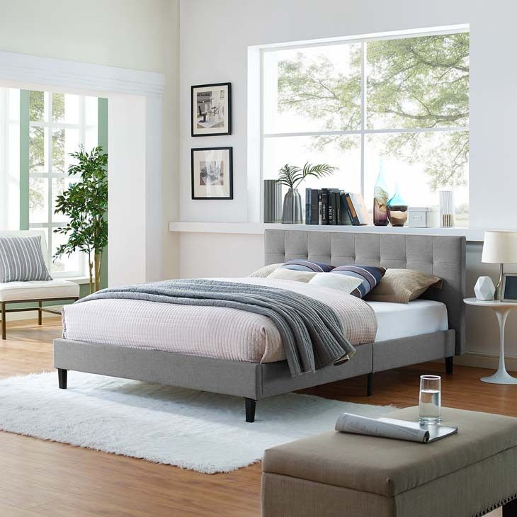 Best Linda Full Fabric Bed Frame Upholstered Platform Bed 400 x 300