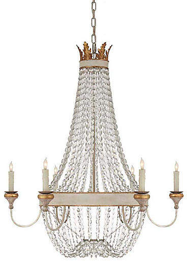 Marielle 8 Light Antique Gild Chandelier with Wood Beads and Gold Leaf Accents
