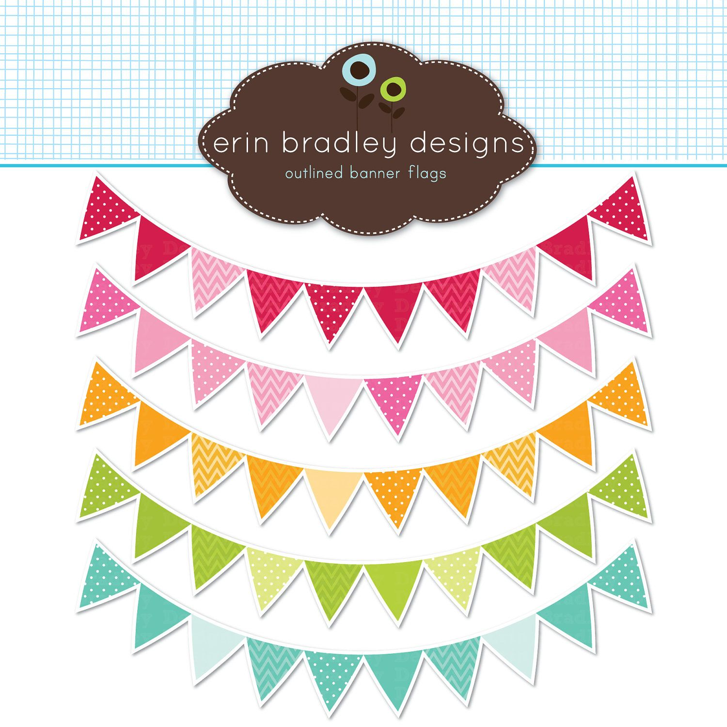 Vector bunting flags lovely celebration card with colorful paper - Colorful Pennant Banner Flags Clipart Clip Art For Personal Commercial Use 5 00 Via