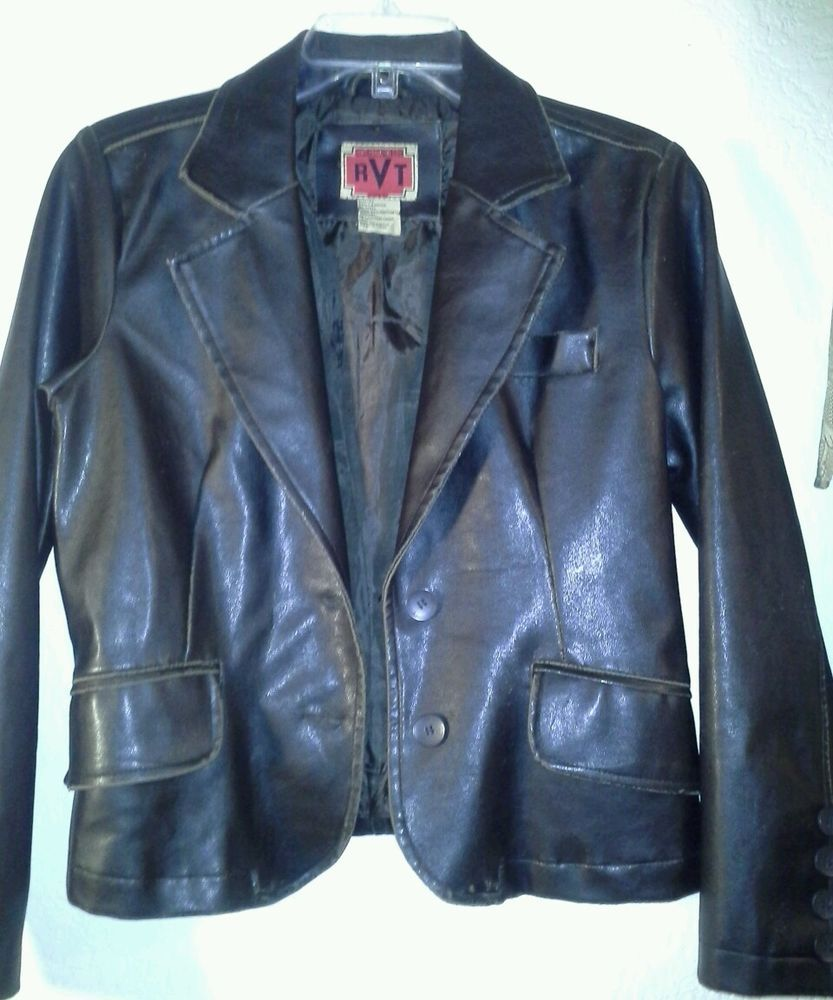 Ladies Rvt Clothing Faux Distressed Leather Jacket Blazer Dark Brown Size Ps Rvtclothing Blazer Distressed Leather Jacket Blazer Jacket Leather Jacket