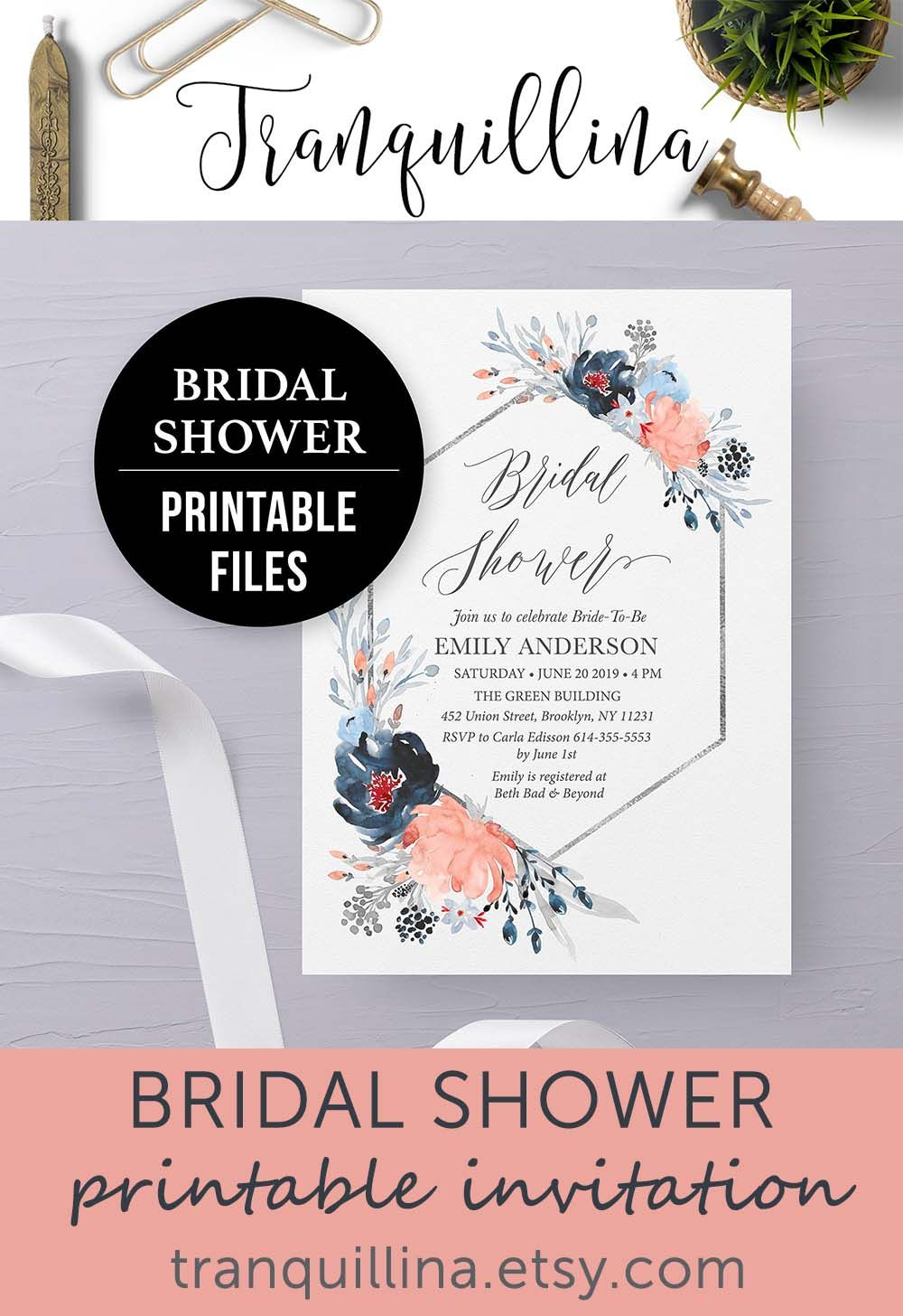 Geometric Floral Bridal Shower Invitation Blue Silver Coral Peach Bridal Shower Invite Printable Navy Wedding Invitations Bridal Shower Invitations Printable Wedding Invitations