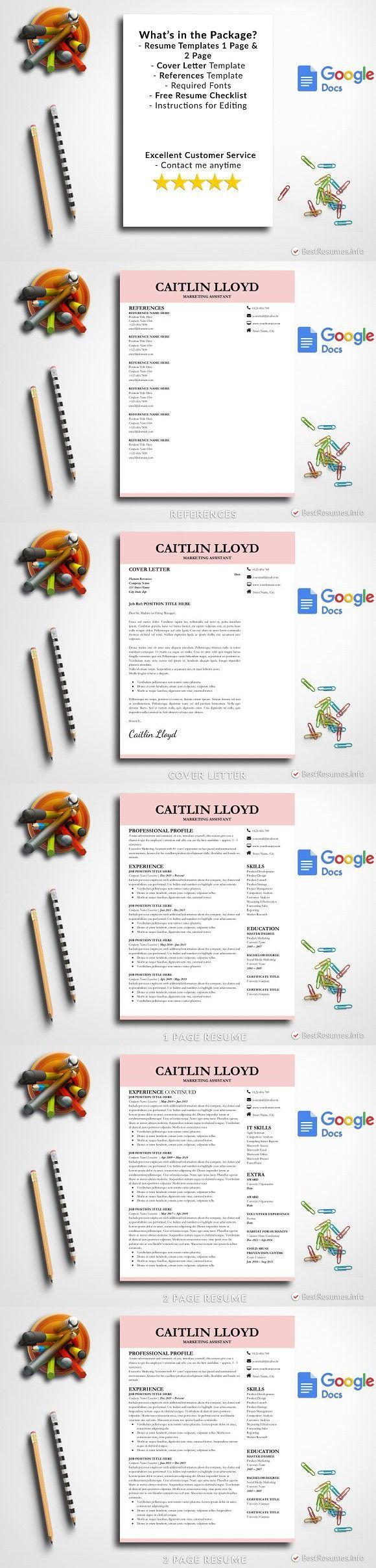 Resume On Google Docs Modern Resume Template Google Docs  Resume Design  Pinterest .