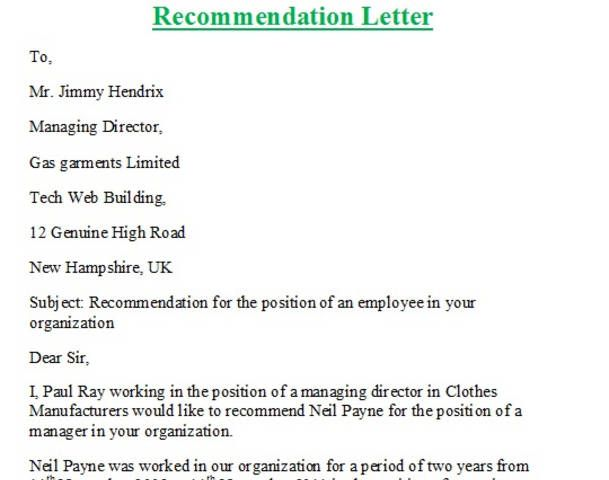 Writing Recommendation Letter For Friend  Letter