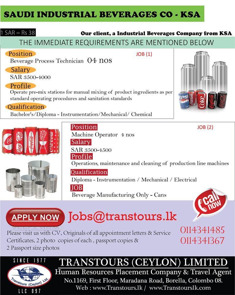 Beverage Process Technician - Apply Now jobs@transtourslk