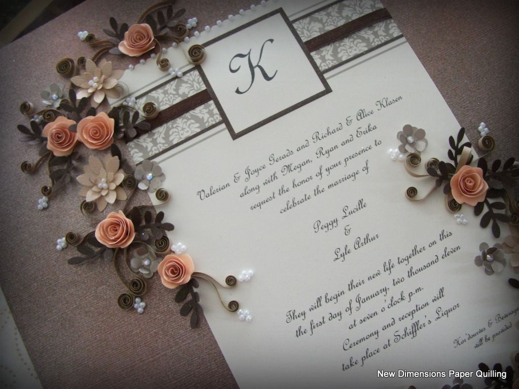 A quilled wedding invitation keepsake with a custom painted ...