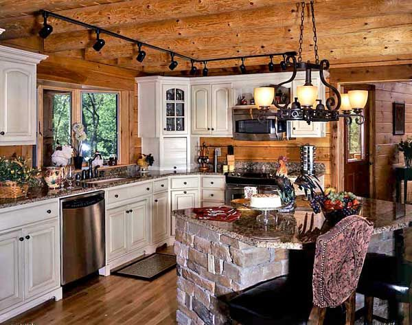 Whitewashed Birch Wood Cabinets Lighten The Tones In Kitchen Island Featuring Log Home KitchensWhite