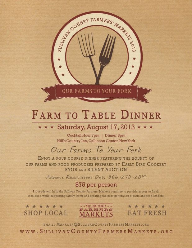 Callicoon Ctr, Ny Our Farms To You Fork, A Farm To Table 4 Course