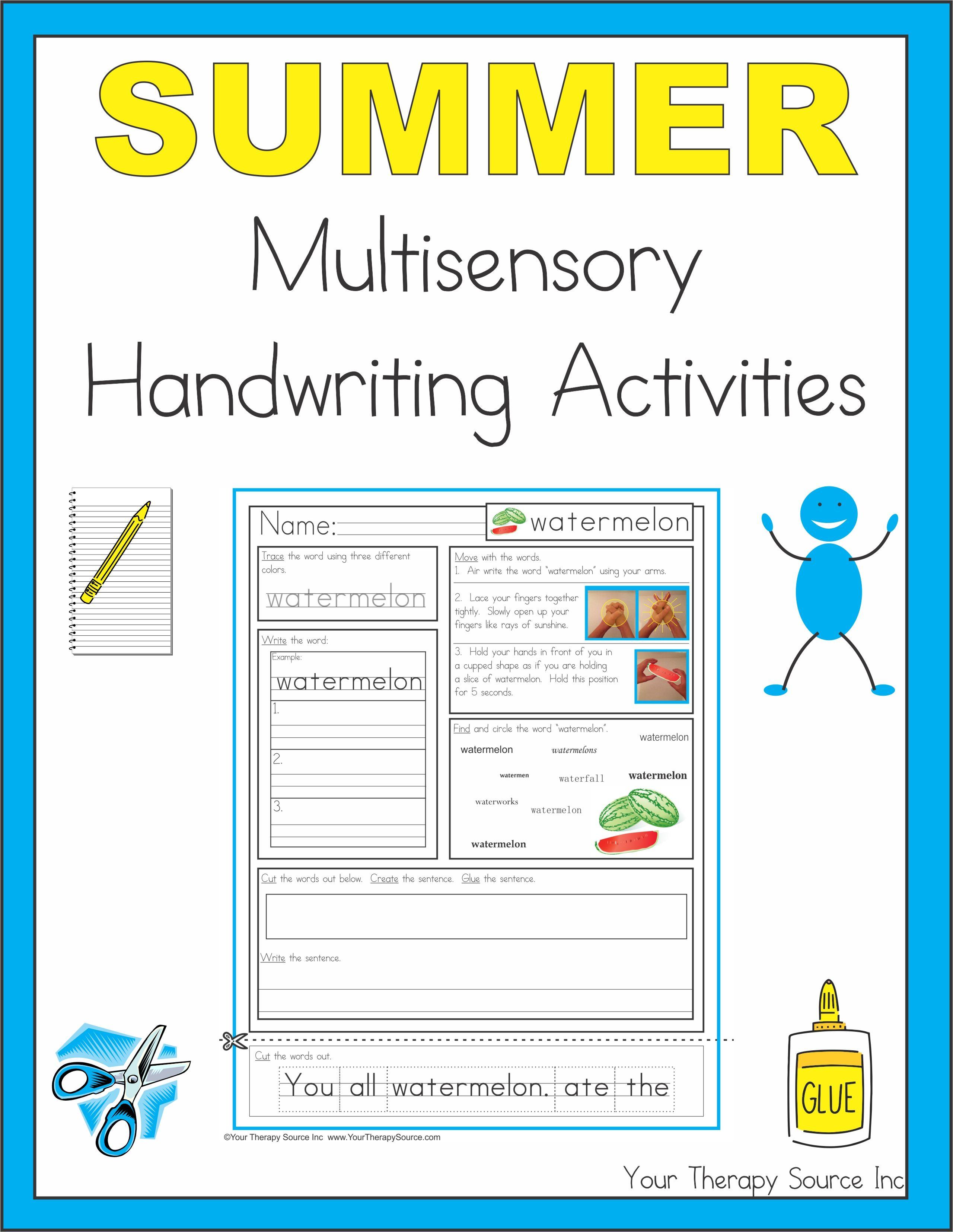 Summer Multisensory Handwriting Activities