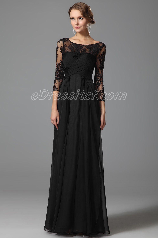 Lace Sleeves Empire Waist Black Evening Dress Black Dress Lace Sleeves Evening Gown Dresses Black Evening Dresses [ 1500 x 996 Pixel ]