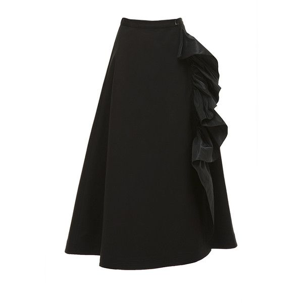 Tome Ruffled taffeta-trimmed cotton-blend skirt (£550) ❤ liked on Polyvore featuring skirts, flouncy skirt, tome, a line flared skirt, frilly skirt and frill skirt
