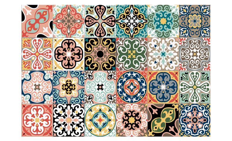 tapis vinyle carreras motif patchwork