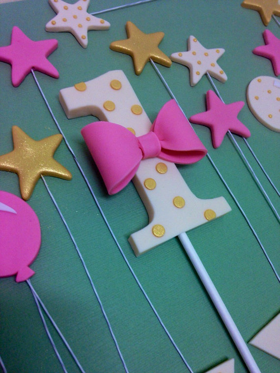 Fondant 1st Birthday Cake Topper By CherryBayCakes Number Toppers