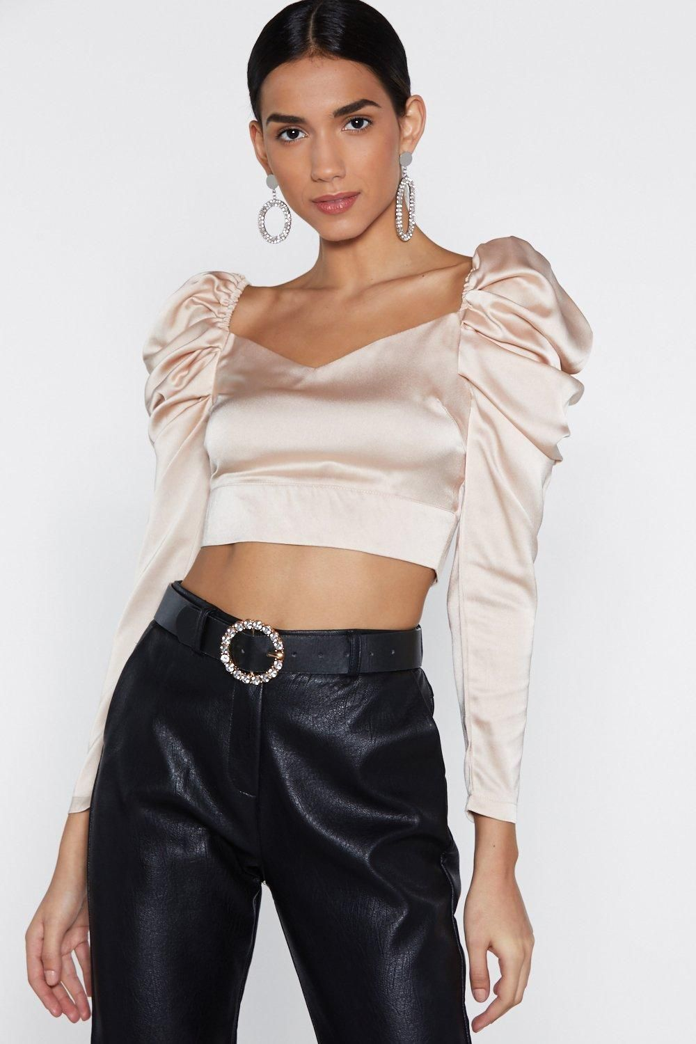5b6afd2bf5cb32 Satin Crop Top, Topshop Outfit, Going Out Outfits, Nasty Gal, Cool Style