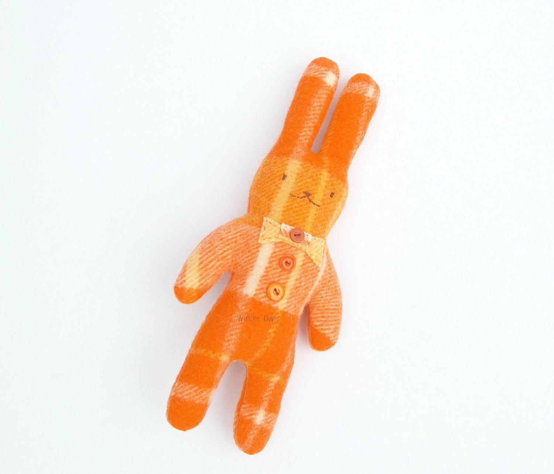 Hipster Rabbit, Bunny Rabbit Softie, Orange Bunny Rabbit, Woodland Plushies, Soft Toy, Stuffed Animals, Upcycled Softie, Eco Friendly Toy by WinterOwls on Etsy