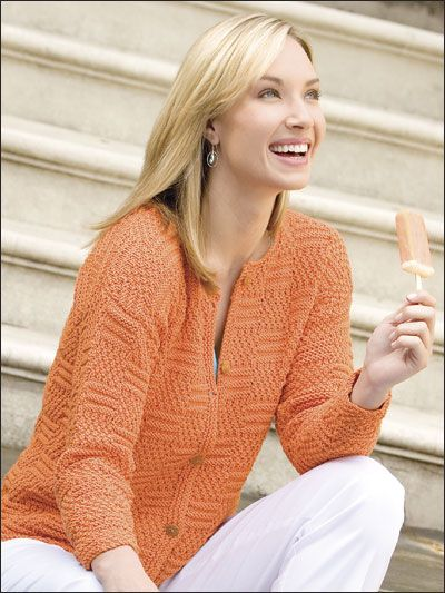 Tangerine Smoothie    Technique - Knitting    An eye-catching basket-weave pattern alternating moss-stitch and textured-stripe squares enhances this cardigan's appeal. This e-pattern was originally published in Quick Knits: Cool Projects.    Size: Includes women's small through X-large. Made with medium (worsted) weight yarn and size 7 (4.5mm) needles.    Skill Level:   intermediate