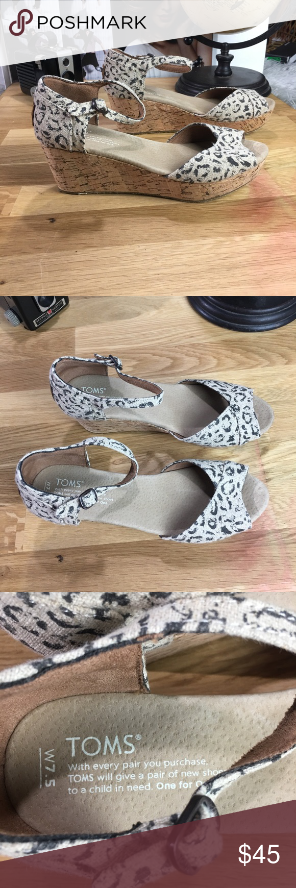 Toms Wedge Sandle with open toe in Animal print Toms Wedge Sandle with open toe in Animal print Toms Shoes #tomwedges