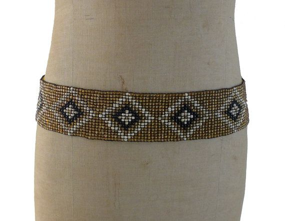 Vintage boho gold white and black glass bead stretch by evaelena, $38.00