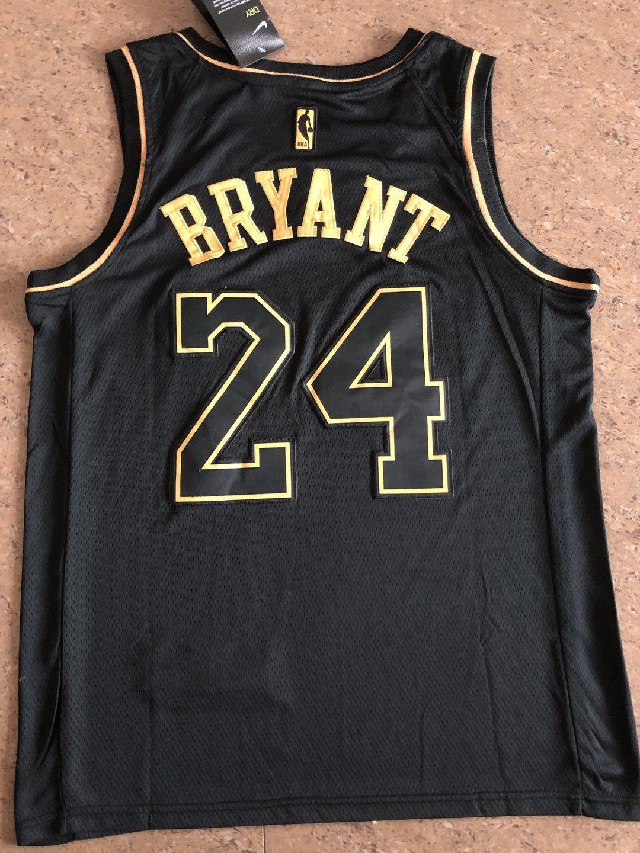 Men 24 Kobe Bryant Jersey Black Gold Los Angeles Lakers Swingman Jerse Nreball In 2020 La Lakers Jersey Nba Jersey Jersey