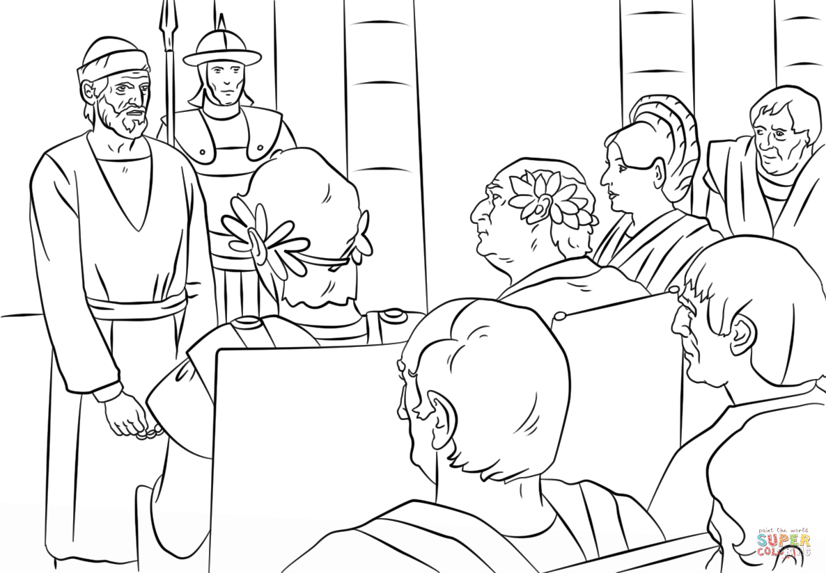 Pauls Trials Before Felix Festus And Agrippa Coloring Page From