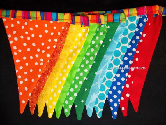 rainbow circus banner garland carnival Alice by GinaBellaBanners, $29.50