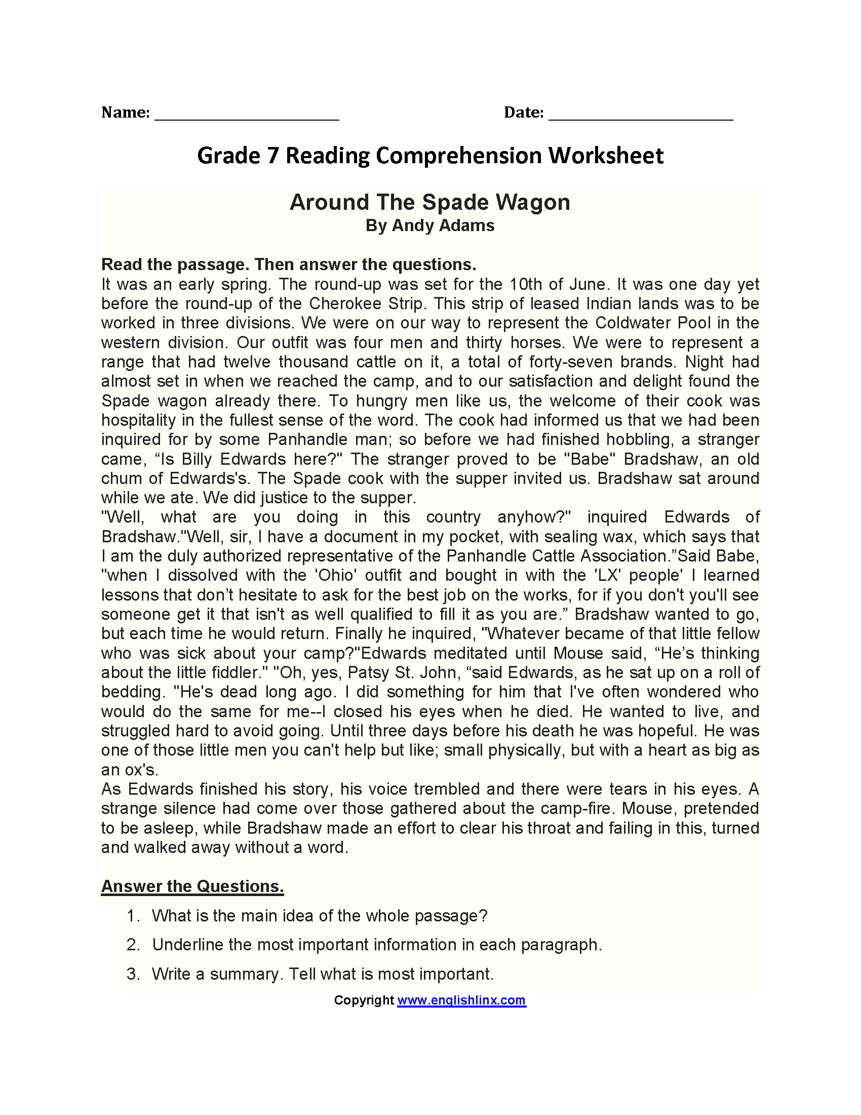 Around the Spade Wagon\u003cbr\u003eSeventh Grade Reading Worksheets   Reading  worksheets [ 2200 x 1700 Pixel ]