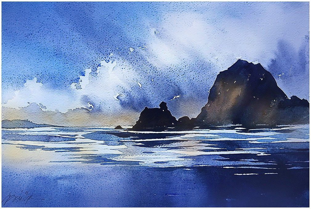 """Cannon Beach - Oregon"" Thomas W Schaller - Watercolor Sketch. 18x12 13 July 2015"