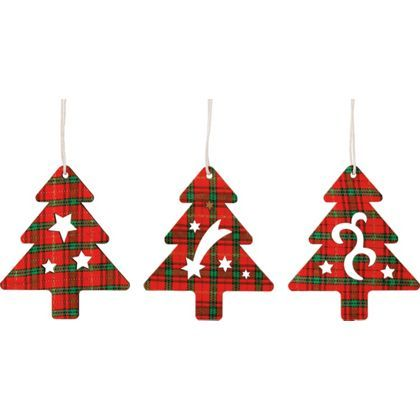 Tartan Christmas Trees Tree Decoration - Pack of 9 at Homebase