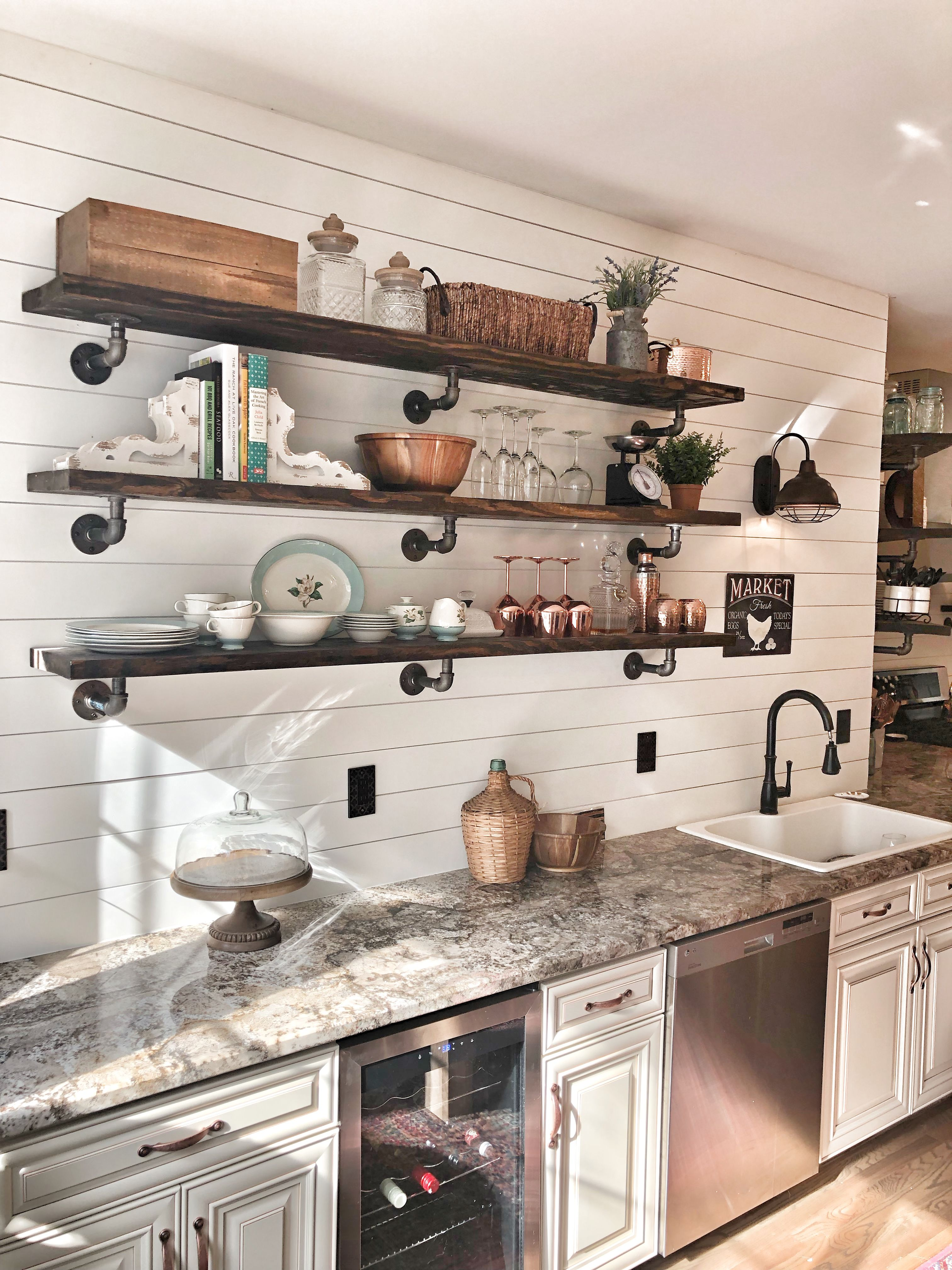 Cottage Kitchen Exposed Shelving Shabby Chic Kitchen Cabinets Farmhouse Kitchen Decor Farmhouse Kitchen
