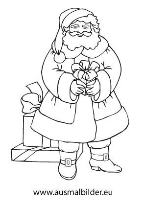 Ausmalbild Weihnachtsmann Mit Geschenk Ausmalbilder Weihnachtsmann Ausmalbilder Weihnachten Ausmalbilder