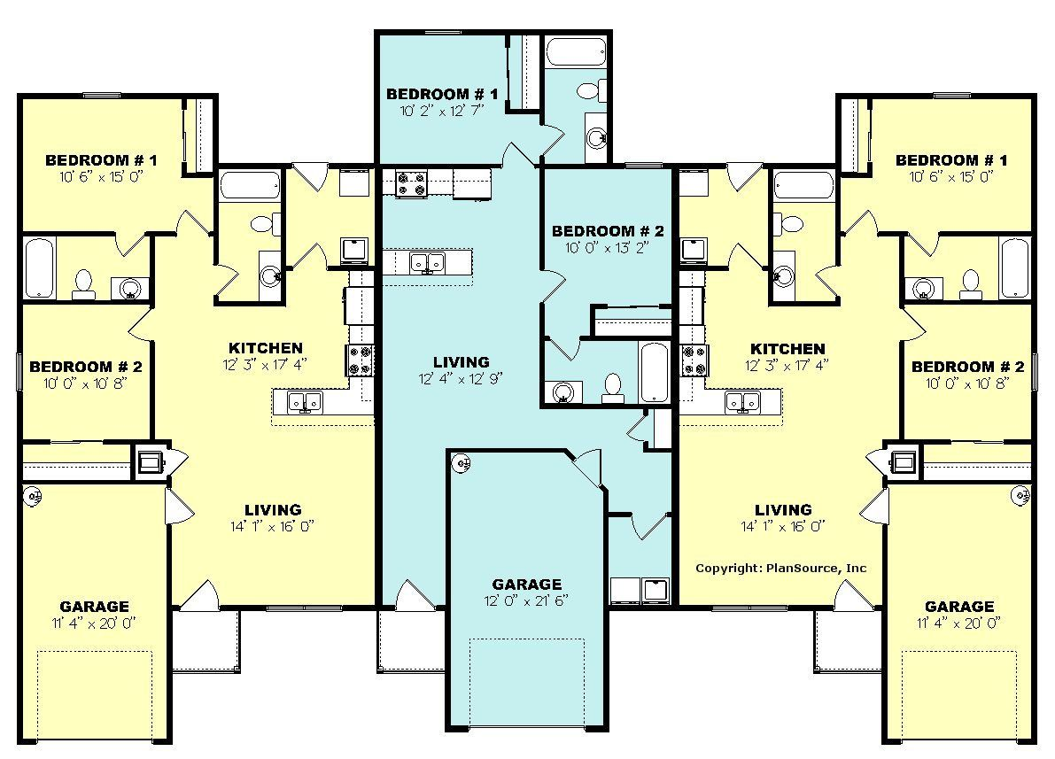 Triplex plan j0324 16t 2 2 bed 2 bath single car for 2 bedroom 2 bath garage apartment plans
